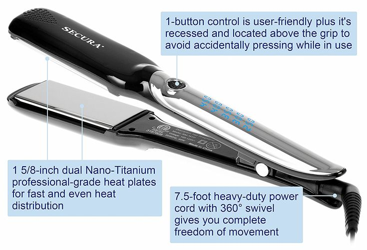 Salon Pro Nano Titanium Flat Iron Hair Straightener | 1 5/8 Inch Straightening Iron by Secura >>> Be sure to check out this helpful article. #hairclip
