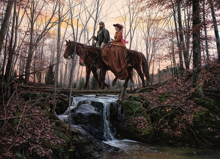 Stonewall Jackson and his wife Anna take a ride in Winchester, VA in February 1862. Painting by John Paul Strain.