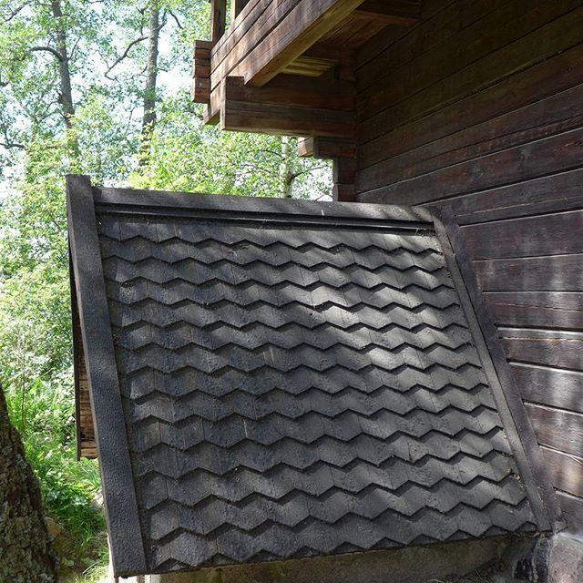 Muinaisten suomalaisten rakennustyylien hyödyntäminen jatkuu Halosenniemessä aina vesikattoon saakka. Katemateriaalina on vanhoista kirkoista tuttu paanukate, joka hyvin tervattuna kestää vähintään ihmisiän. Kansallisromantiikan aikaan paanukatto miellettiin alkuperäiseksi suomalaiseksi kattotyypiksi - mikä tuskin pitää paikkaansa sillä se oli aikoinaan hyvin kallis toteuttaa ja ylläpitää. Katon uudelleentervaus pitäisi suorittaa alle kymmenen vuoden välein.