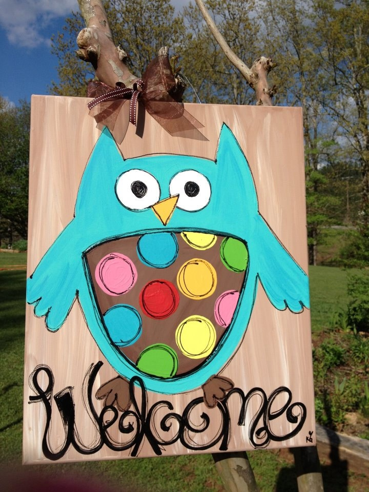 owl welcome signCanvas Ideas, Signs Perfect, Handmade Canvas Painting, Doors Hangers, Welcome Signs, Diy Gift, Cabin Doors, Doors Signs, Owls Signs