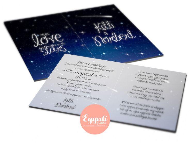 Éjszakai csillagos égboltot ábrázoló különleges esküvői meghívó | Starry Night Sky Wedding Invitation