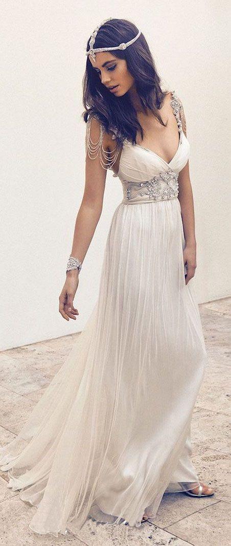Beach Wedding Dress,Summer Wedding Dress, Chiffon Wedding Dresses,Long Wedding Dresses,Beading Wedding Dress,Sexy V-neck Wedding Dresses,Wedding Dresses
