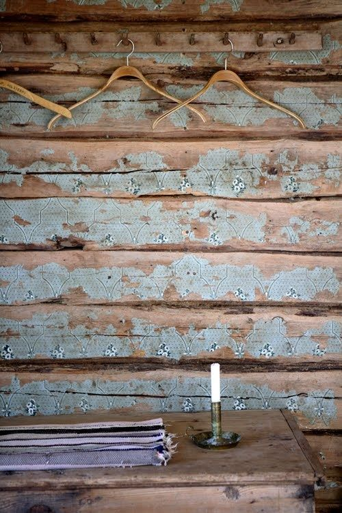 Distressed Wood Plank Walls With A Worn Allover Pattern