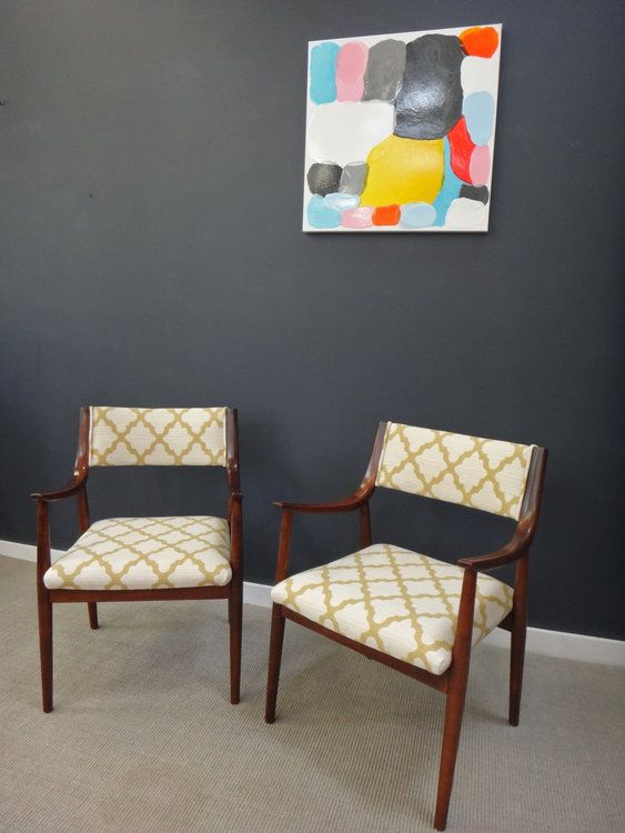 Newly Upholstered Danish Modern Accent Chairs
