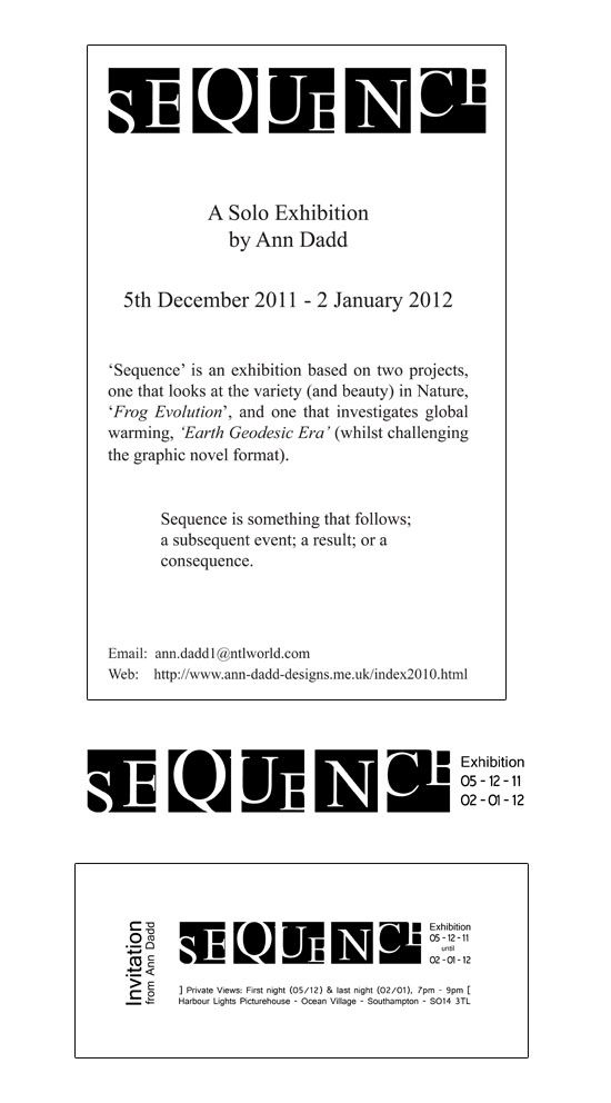 Graphic Design and Advert for Sequence Exhibition  - copyright Ann Dadd