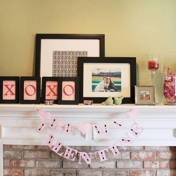 Deko ideen Valentinstag bilderrahmen vögel bonbons