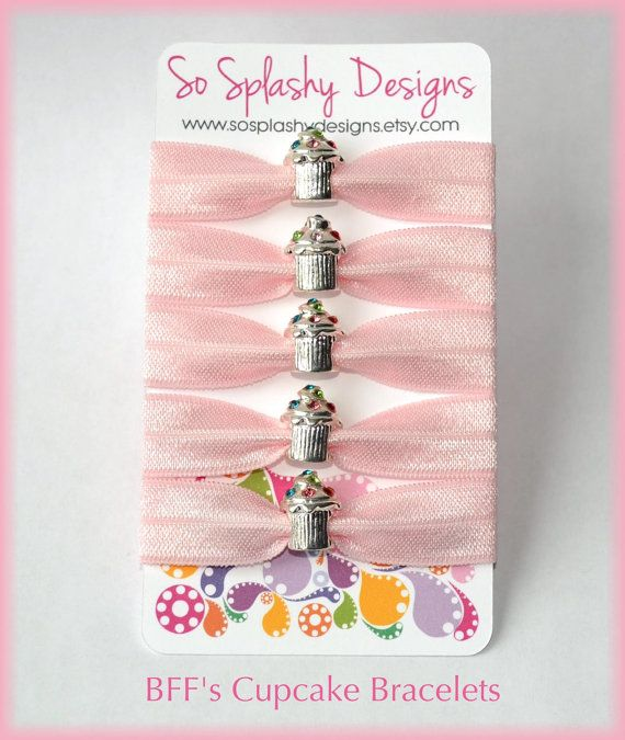 Super cute matching bracelet hair ties to share with your BFFs or as a Party Favor! The set includes 5 matching hair ties with a silver and