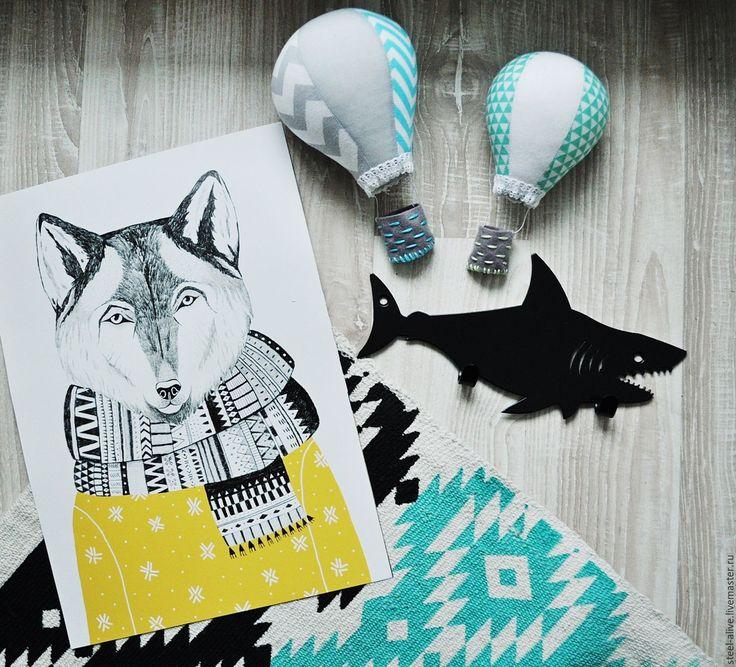 """Купить Вешалка """"Веселый кит/акула"""" - бирюзовый, кит, акула, детская одежда, купить подарок"""