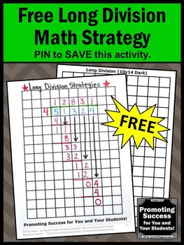 This is a great long division math strategy for 4th, 5th or 6th grade students. These activities also help middle school and special education. This graph paper trick is a useful reminder in math centers or stations. It is a printable graphic organizer use will use in all of your Common Core long division lesson plans!