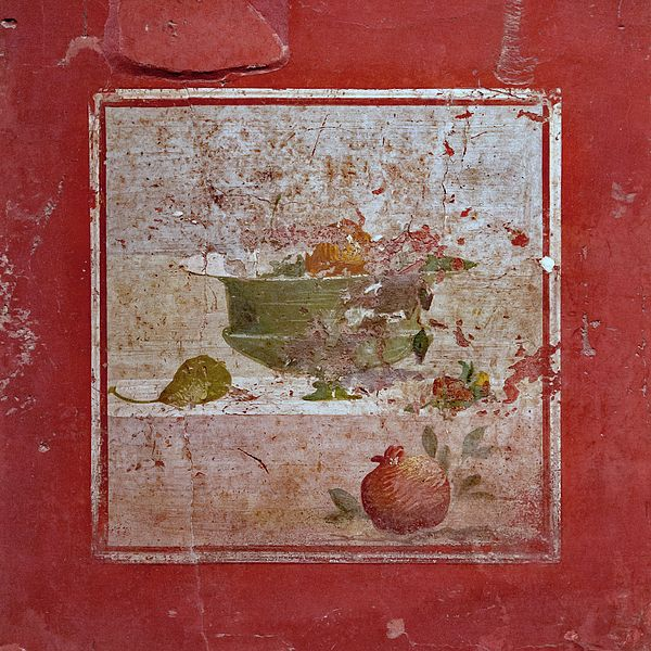 Pompeii Pomegranate Still Life Fresco 2 by Kevin Anderson. A photo of a Roman fresco of a still life with pomegranates and pairs on a red wall that survived the destruction of Pompeii. This was a part of The Last Days Of Pompeii exhibit in KCMO