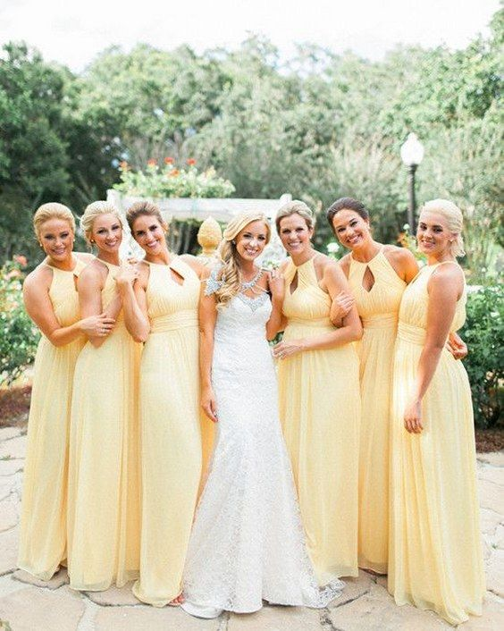 bright yellow bridesmaids dresses / http://www.himisspuff.com/bridesmaid-dress-ideas/16/