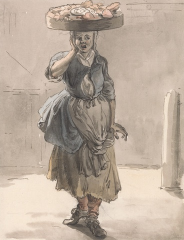 Paul Sandby, 1731-1809, British, London Cries: A Girl with a Basket on Her Head (Lights for the Cats, Liver for the Dogs), ca. 1759, Watercolor, pen and brown ink, and graphite on medium, cream, slightly textured laid paper, Yale Center for British Art, Paul Mellon Collection