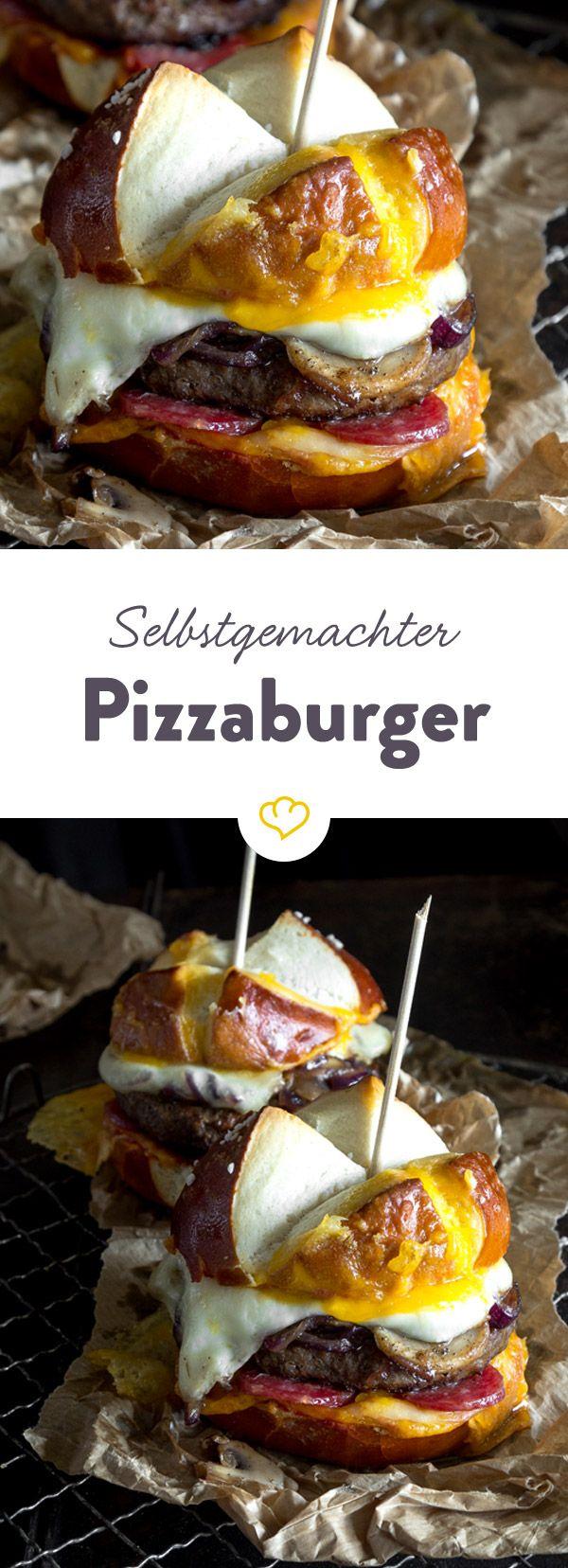Außen fluffiges Laugenbrötchen, innen erst käsige Salamipizza dann saftiges Burger-Pattie mit karamellisierten Zwiebeln und Champignons.