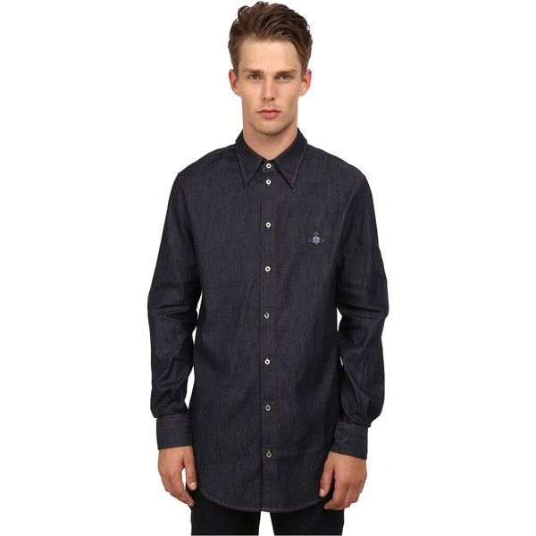 Vivienne Westwood Anglomania Tailored Long Shirt (Blue Denim) Men's... ($118) ❤ liked on Polyvore featuring men's fashion, men's clothing, men's shirts, men's casual shirts, blue, mens short sleeve button down casual shirts, mens long sleeve denim shirts, men's short sleeve button up shirts, mens short sleeve denim shirt and mens button up shirts