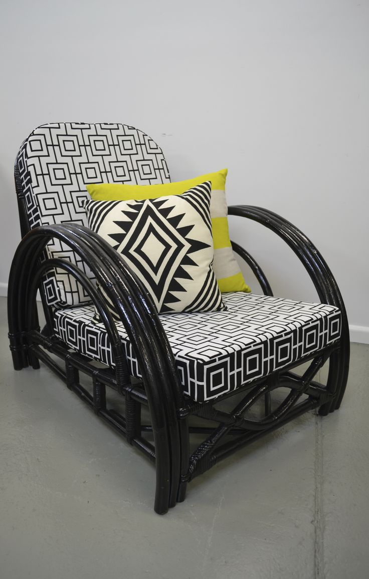 Upcycled art deco cane armchair new warwick fabric by for Outdoor furniture jeddah