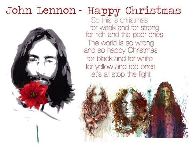 """""""John Lennon~Please See Video Happy Christmas"""" by sjlew ❤ liked on Polyvore featuring art"""