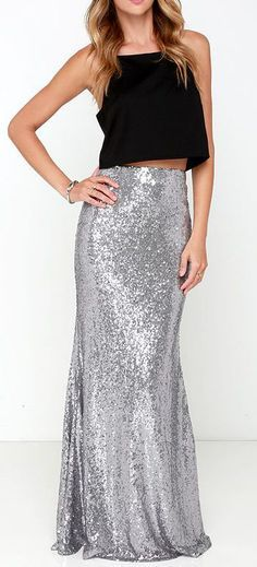 Kickin' Up Stardust Silver Sequin Maxi Skirt