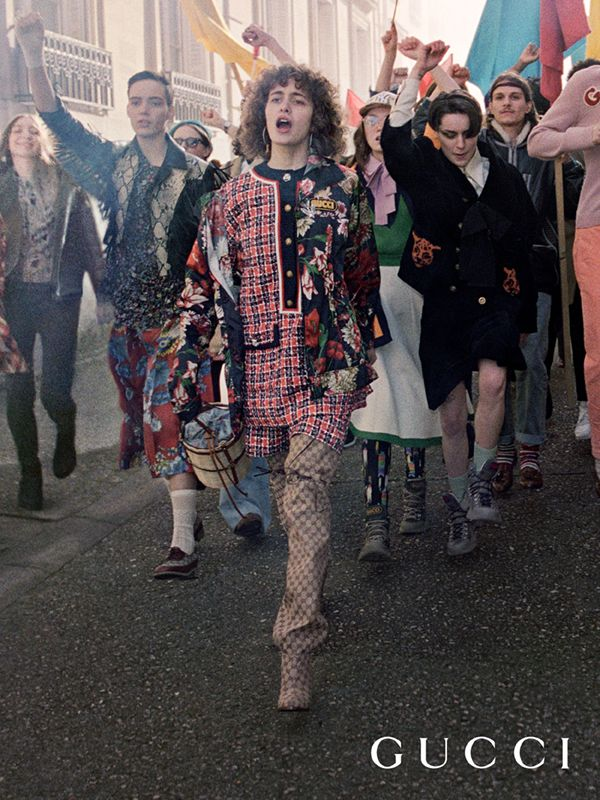 890037f24c6 Named Gucci Dans Les Rues (in the streets) the Gucci Pre-Fall 2018 campaign  is inspired by the spring of student awakening in Paris 1968 and features  young ...