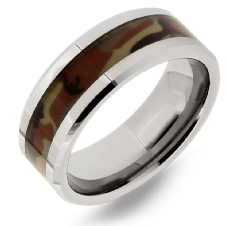 This is a camouflage tungsten wedding band with a camo inlay that goes through the center of the ring. This wedding band makes a perfect mens wedding band for a