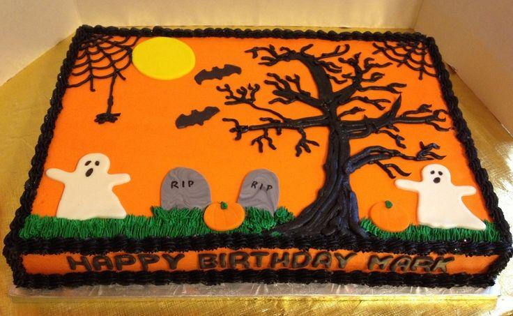 Halloween Birthday Sheet Cake  on Cake Central
