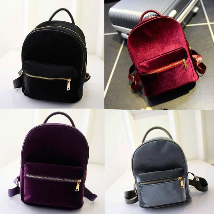 Women Velvet Backpack Girls School Bags Small Travel Handbag Shoulder Bag Casual