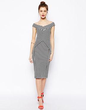 Cutout stripe bardot dress from asos.