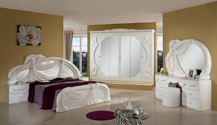 Bedroom. Classic White Queen Bedroom Set Design Featured White Carving Headboards With Purple Comforter And Red Blankets Also White Wardrobe And Dresser As Well As Purple Rounded Rug On White Floor Tile And Brown Wall Paint Color Ideas. Beautiful Bedroom Ideas Featuring White Queen Bedroom Set Design http://bensonsroom.com