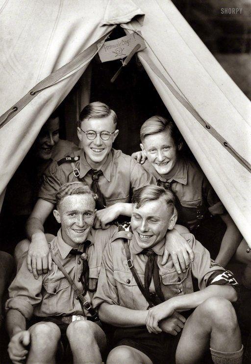 """1938. Stuttgart, Germany. """"Von der 6. Reichstagung der Auslandsdeutschen (Hitler Youth in tent during festivities for the 6th Annual Nationa..."""