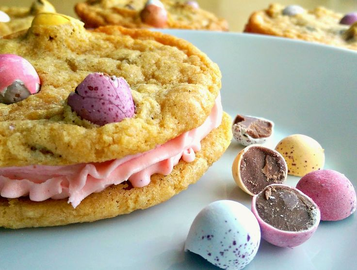 Pink buttercream filled Cadbury's mini egg cookies via My Sugarcoated Life UK blog