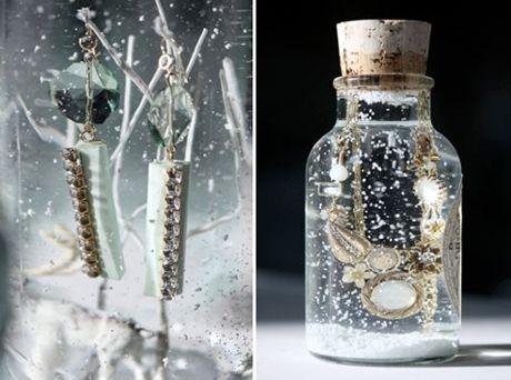 DIY snow globes with jewlery