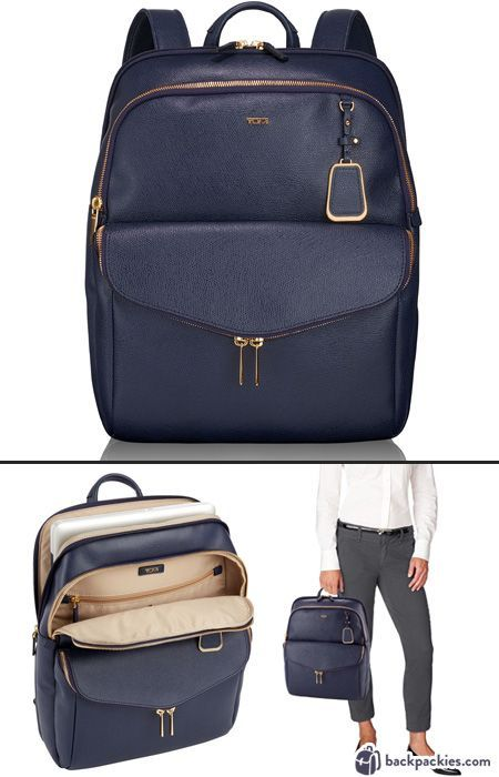 Tumi Harlow sophisticated backpacks for women - Find more sophisticated backpacks at https://backpackies.com/blog/best-womens-backpacks-for-work