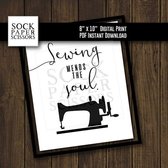 Printable Typography Art Print  Sewing mends the soul.  PDF