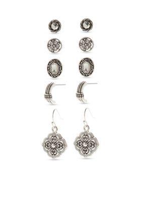 Kim Rogers Women Silver-Tone Scroll Sensitive Skin Earring Box Set - Silver - One Size