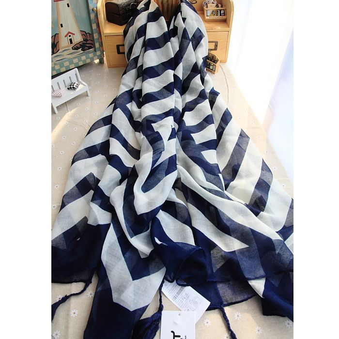 2017 Hot Sale fashion brand cotton black and white scarf with tassel blue stripe print 100% Cotton scarf for women summer shawl