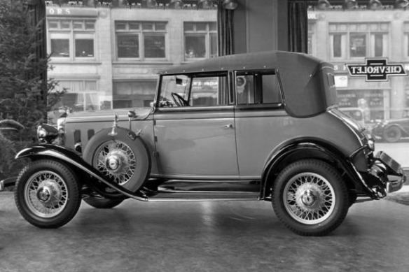 1932 Chevrolet Landau Sedan in the showroom, at $625 list, the 5-passenger Landau Phaeton was the most expensive model in the 1932 Chevy lineup