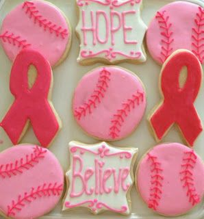 Pink Out Softball Cookies