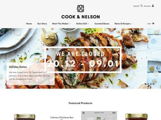 Cook & Nelson are purveyors of the most exciting and exceptional fare crafted by the best artisan producers in the world. We are obsessed by food and drink!' /