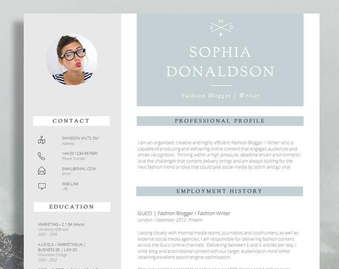 Two Page Resume Template Modern Cv Template For Word Stylish