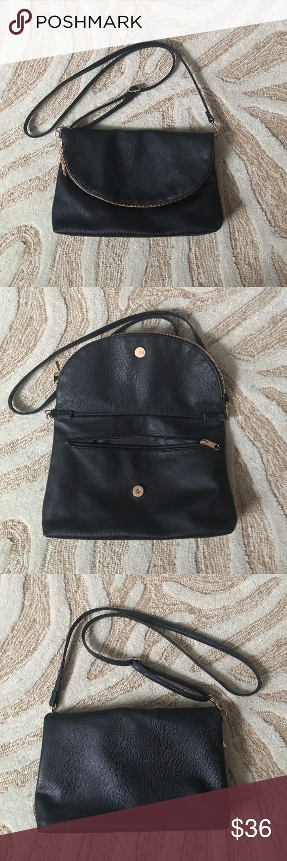 H&M Purse Black fold-over purse with yellow gold zipper. Used only once, practically brand new. Interior is flawless. H&M Bags Crossbody Bags