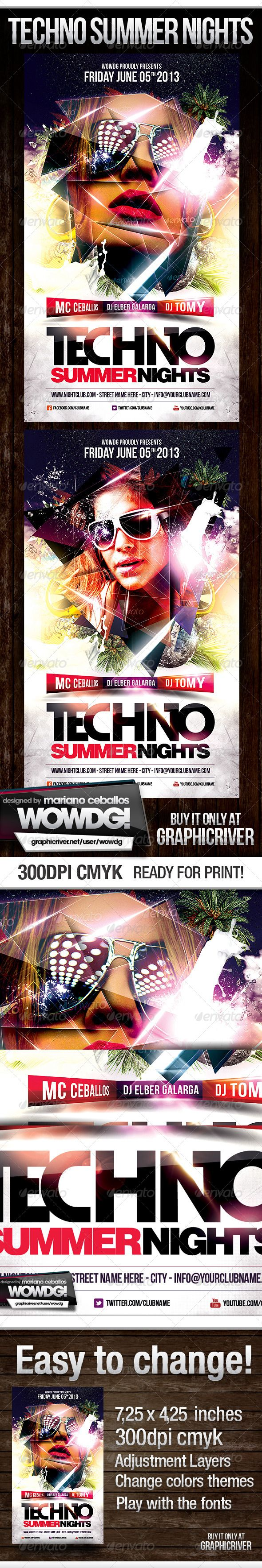 Techno Summer Party Flyer Tempalte #design Download: http://graphicriver.net/item/techno-summer-party/4765972?ref=ksioks