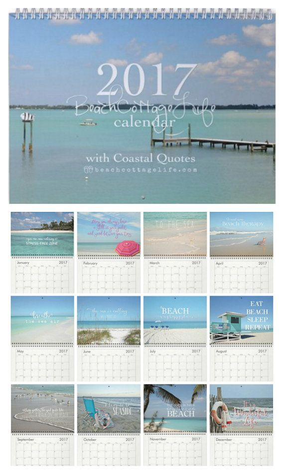 "2017 Beach Calendar w/ Coastal Quotes. Each month's 8.5x11"" photo printed on heavy card stock."