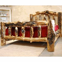 This aspen log bed is all about being gnarly.  Handcrafted in the USA from elk-chewed, beetle-tracked, and snow-bent solid aspen logs. #gnarlybed #logbed #logfurniture