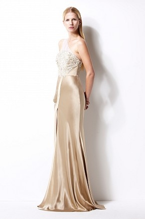 Gold one-shoulder long lace gown- Izmaylova