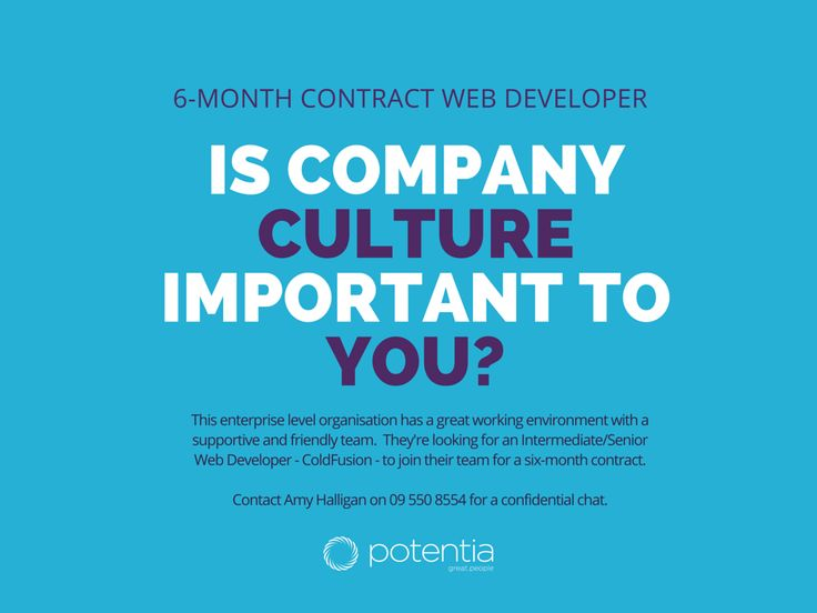 Is company culture important to you as a contractor? We've a 6-month Intermediate/Senior Web Developer (ColdFusion) Contract for an enterprise level organisation that has a great working environment with a supportive and friendly team. Find out more at http://www.seek.co.nz/Job/29310939/
