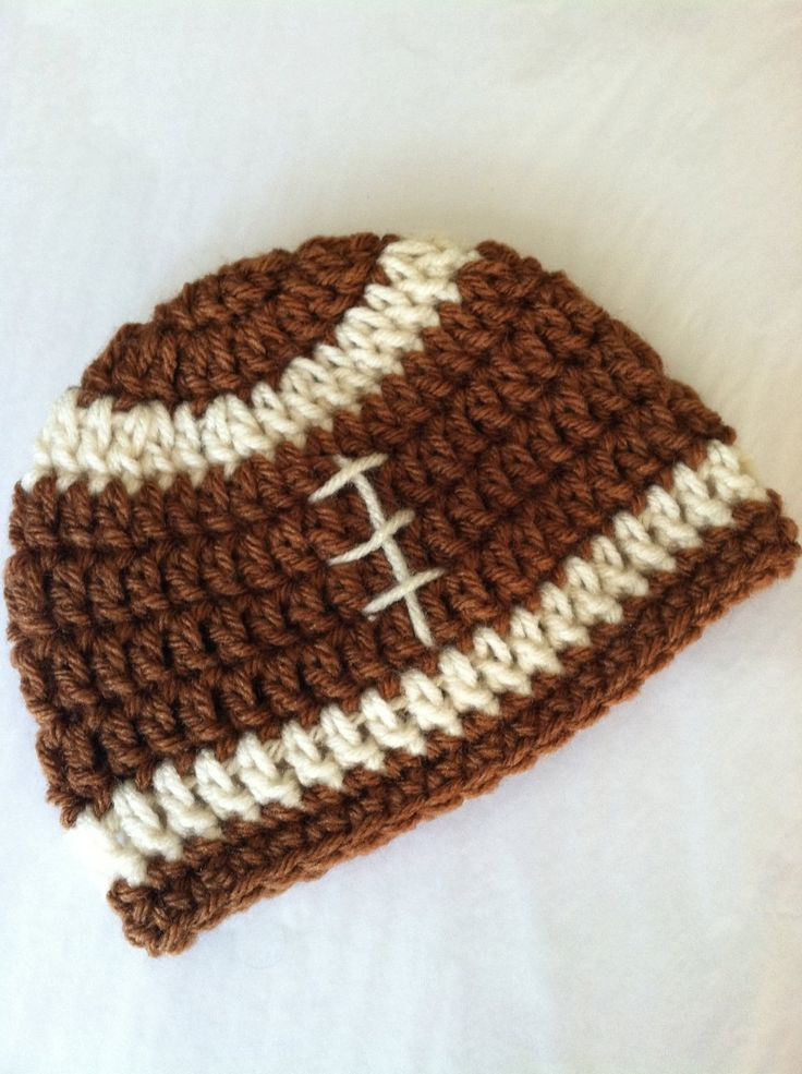 Crochet Baby Hat, Football Baby Hat, Newborn Hat, Newborn Baby Hat, Fall Football Infant Hat, Chocolate Hat, Baby Boy Hat. $18.00, via Etsy.