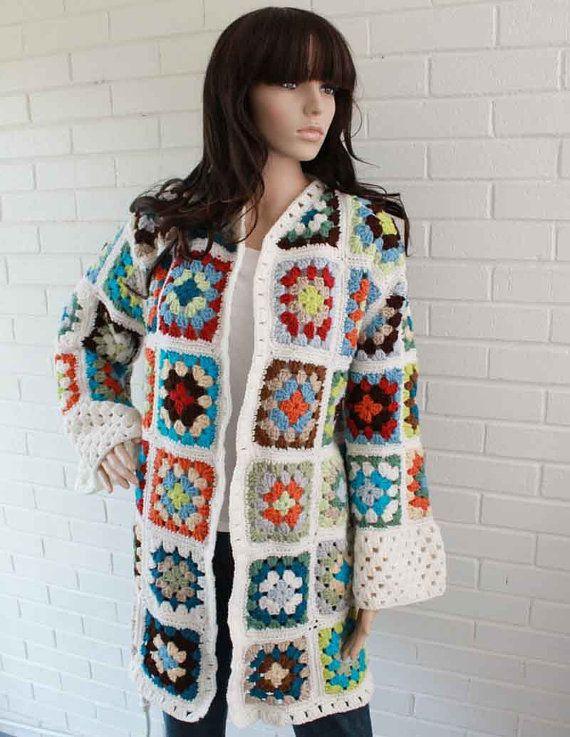 Granny Square Coat Pattern - PB093