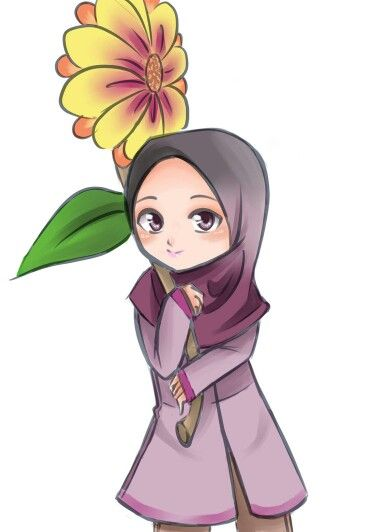 Muslimah with the flower
