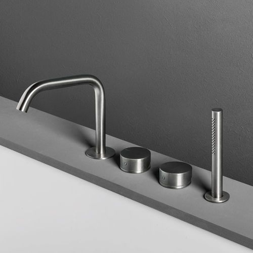 Bathtub double-handle mixer tap / deck-mounted / stainless steel / for bathrooms OX: BT03/BT03P MAKRO