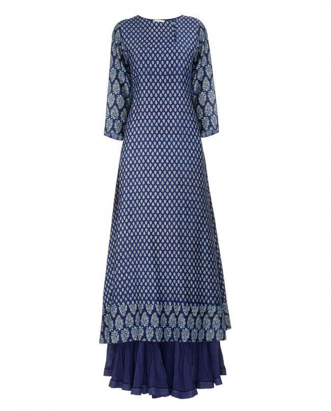 Block Printed Indigo Blue Tunic with Skirt