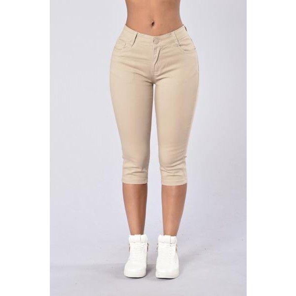 Capri Uniform Pants Khaki ($15) ❤ liked on Polyvore featuring pants, capris, khaki pants, khaki capris, capri pants, khaki trousers and khaki capri pants